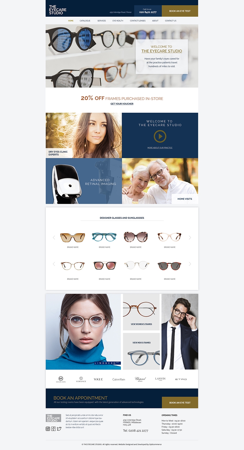 the eyecare studio website homepage